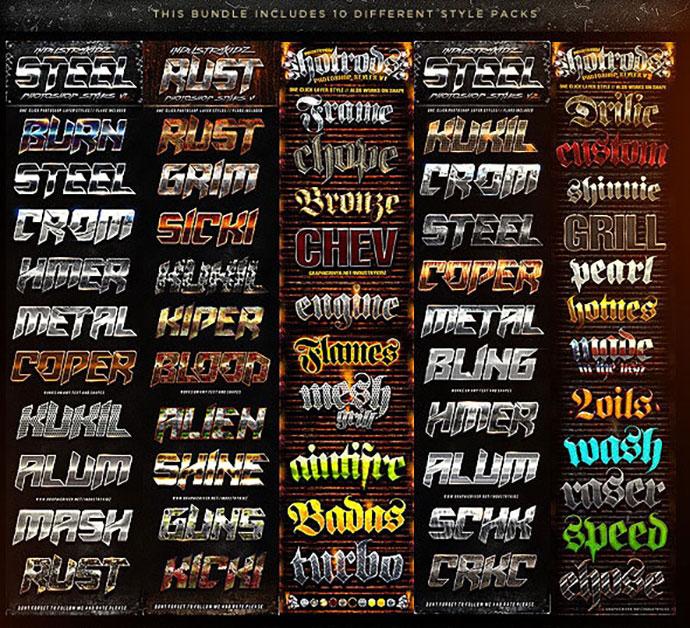 Metal Steel Photoshop Layer Styles Bundle