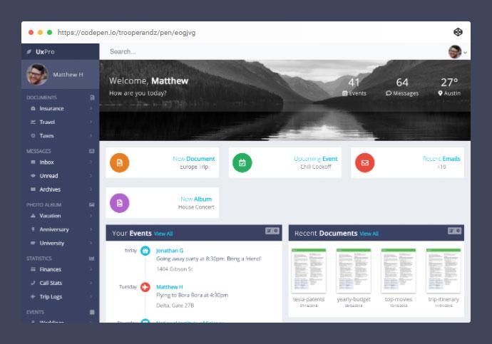 CSS Grid Modern Responsive Dashboard